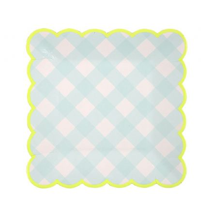 Blue Gingham Paper Plates - Small